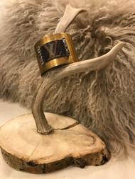 Custom LV and Rhinestone Brass Cuff