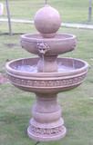 "40"" Sphere & Lion Head Tiered Fountain GRN428"