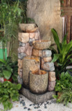 "42"" Buckets & Stone Wall Fountain w/ Halogen Lights"
