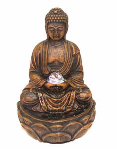 Buddha Tabletop Fountain W/ Spinning Glass Ball U0026 LED Lights