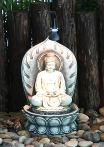 Buddha Statue Table Top Fountain W/ Halogen Light PWR258