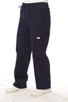 Features elastic waistband with drawstring. Shown in Navy Blue. Model is wearing size Small.
