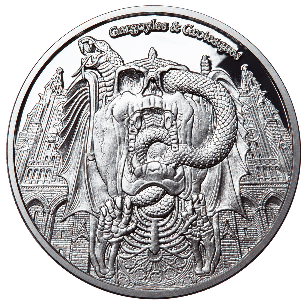 """2017 Gargoyles & Grotesques """"DECAY"""" Silver Coin Tchad 1000 Francs  PROOF"""