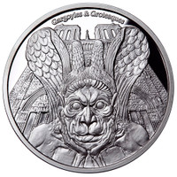 "2017 Gargoyles & Grotesques ""SPITTER"" Notre Dame  Silver Coin Tchad 1000 Francs  PROOF"