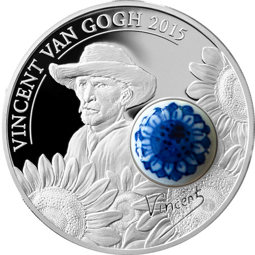 2015 ROYAL DELFT Sunflowers Van Gogh Porcelain Silver Coin 10$ Cook Islands