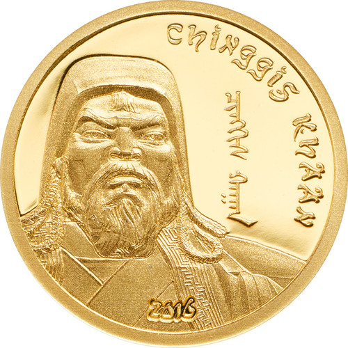 2016 Mongolia 1000 Togrog Chinggis Khaan 1 Gold Coin