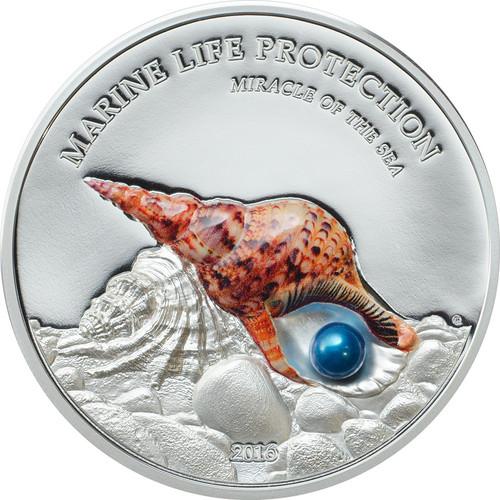 2016 Marine Life Protection - Miracle of the Sea $5 1oz Real Pearl & Silver Coin - Palau