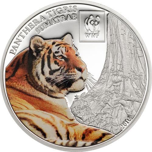 2016 WWF Sumatran Tiger 100 Shillings Cu Ag-plated Coin - Tanzania
