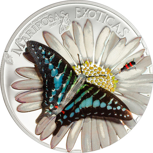 "2015 Exotic Butterflies 3D Silver Coin ""Swordtail"" Equatorial Guinea 1000 Francs"