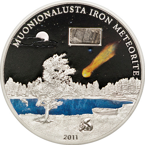 2011 MUONIONALUSTA IRON METEORITE Silver Coin 5$ Cook Islands