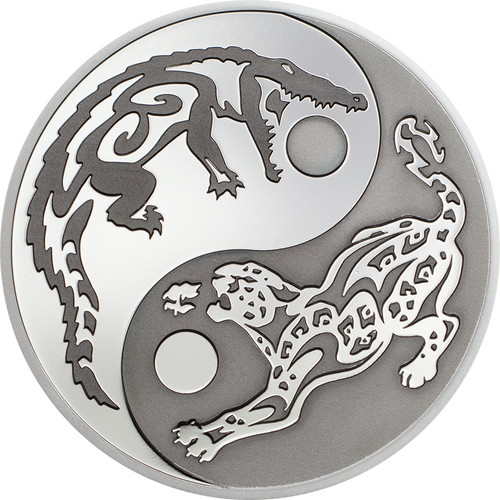 "2017 PREDATOR PREY .999 Silver Coin w/ Palladium $5 ""CROCODILE vs JAGUAR"""