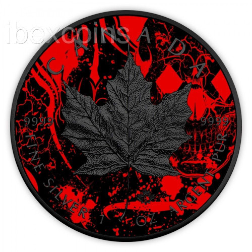 2017 MAPLE DIAMOND SKULL Canada Maple Leaf Colorized 1oz Silver w/ Ruthenium