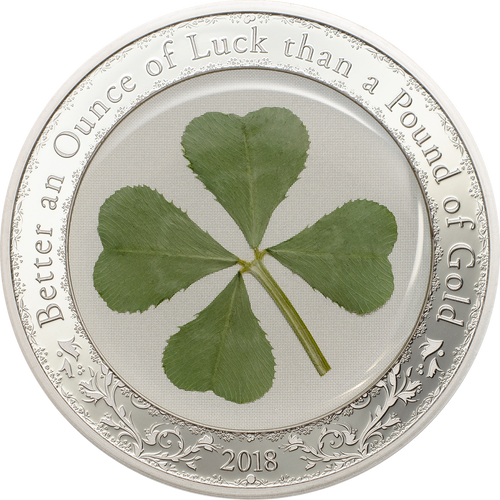 2018 Palau $5 Proof Silver Coin Four Leaf Clover - Ounce of Luck