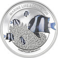 2015 WHITETAIL DAMSELFISH Marine Life Protection SOLID Silver Coin 5$ Palau
