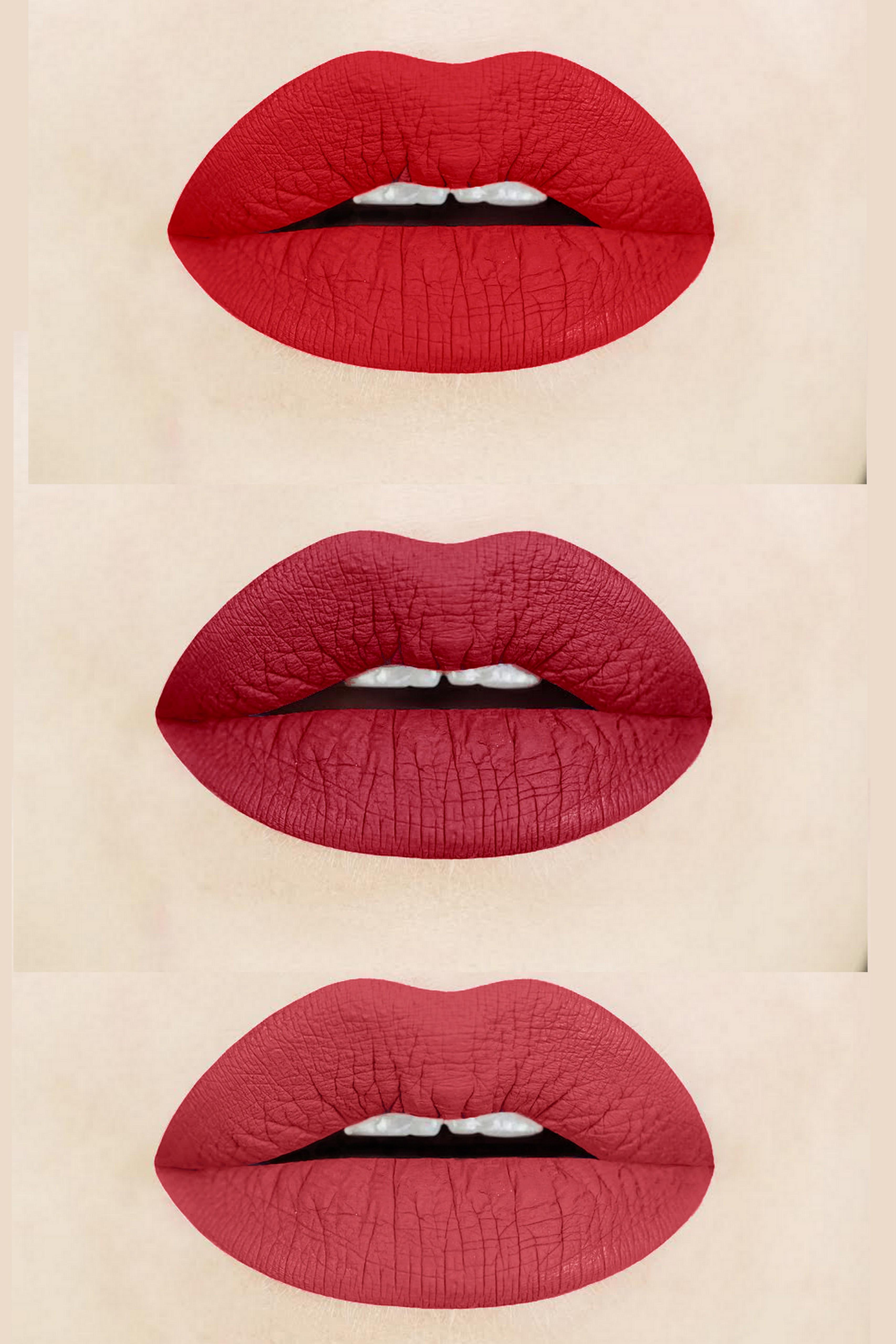Aromi Beauty's Red Liquid Lipsticks - Flamenco, Power, & Brick Red