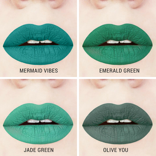 green liquid lipstick swatches handcrafted gluten-free