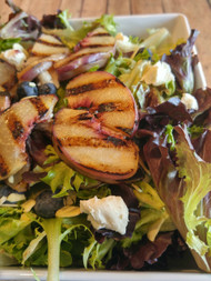 Grilled Peach and Goat Cheese Salad w/Blueberries