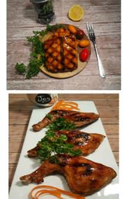 Honey Glazed Salmon and Chicken