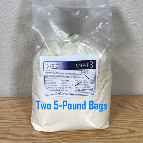 SNAP3 Dental Alginate- 10 Pounds (2x5 pound bags) US made dental alginate sold directly to the dental office at wholesale prices Bags include scoop and vial