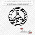 Peace Zebra Logo Car Decal for use outdoors on cars, windows, or other surfaces. Vinyl used for decals is high quality outdoor rated vinyl. All vinyl decals are made in the USA