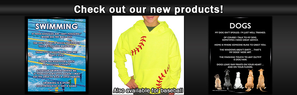 Softball Youth Hoodie, Swimming Poster Print and Dogs Poster Print