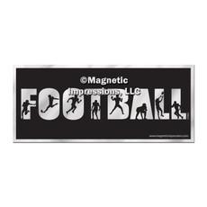 Football Word Car Magnet Chrome
