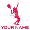 Tennis Female Serve Window Decal in Hot Pink