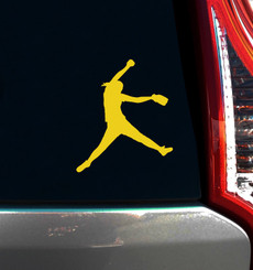 Softball Pitcher Car Window Decal in Yellow