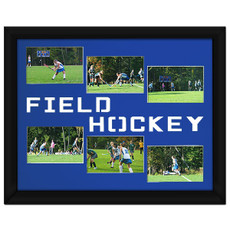 "Field Hockey Photo Mat Gift 16"" x 20"" for 4"" x 6"" Photos in Bright Blue. Frame and photos not included."