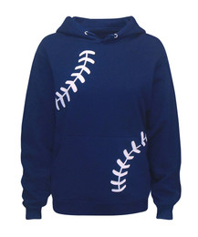 Women's Baseball Laces Navy Hoodie