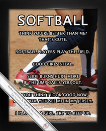 Framed Softball Player Base 8x10 Sport Poster Print