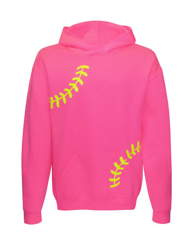 Softball Laces Girl's Youth Hoodie in neon pink