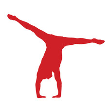 Gymnast Male Floor Car Window Decal in Red