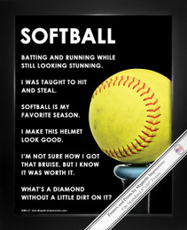 Framed Softball Bat 8x10 Sport Poster Print