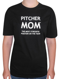 Women's Pitcher Mom T-shirt - Adult Crew Neck in black
