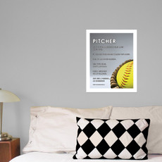 "Softball Pitcher Glove 13.75"" x 17"" Wall Decal"