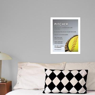 """Softball Pitcher Glove 13.75"""" x 17"""" Wall Decal"""