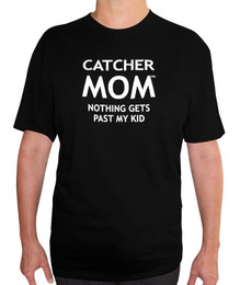Women's Catcher Mom T-shirt - Adult Crew Neck in Black