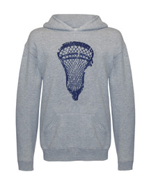 Boy's Youth Lacrosse Hoodie Sweatshirt in Gray