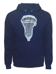 Men's Lacrosse Head Hoodie Sweatshirt in Navy