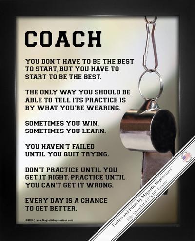 Framed Coach Motivational 8x10 Poster Print