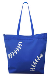 Baseball Laces Tote Bag Blue