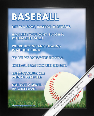 """Framed Baseball Inspiration 8"""" x 10"""" Poster Print"""