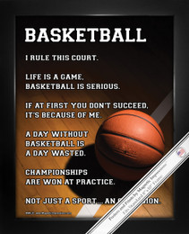 "Framed Basketball on Court 8"" x 10"" Sport Poster Print"