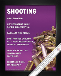 "Framed Shooting Girls Shoot Too 8"" x 10"" Sport Poster Print"