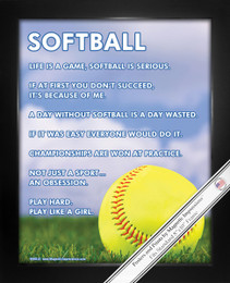 "Framed Softball Inspiration 8"" x 10"" Poster Print"