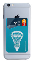 Lacrosse Head Cell Phone Wallet in teal. Phone and cards not included.