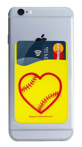 Softball Heart Cell Phone Wallet. Phone and cards not included.