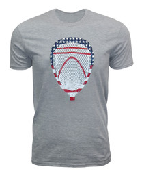 Men's Lacrosse Goalie USA Head American Flag T-shirt in gray