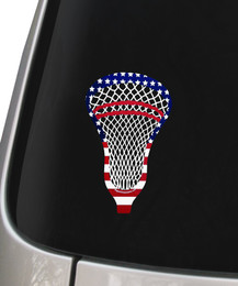 Lacrosse Head USA American Flag Decal Sticker on Car